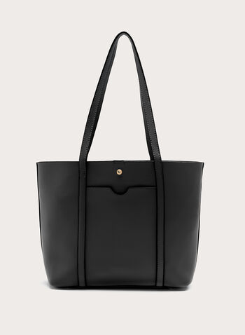 Faux Leather Tote , Black, hi-res