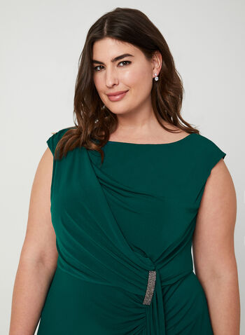 Sleeveless Jersey Midi Dress, Green,  dress, midi, jersey, sleeveless, broach, ruffles, faux wrap, fall 2019, winter 2019