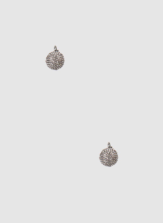 Rhinestone Stud Earrings, Grey