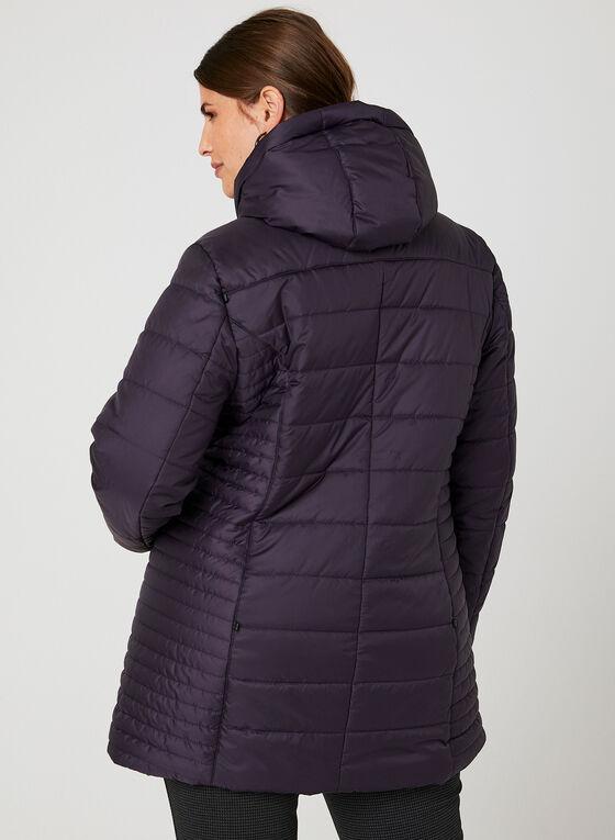 Manteau matelassé avec col amovible en fausse fourrure   , Violet
