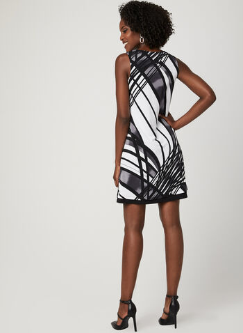 Reversible Geometric Print Dress, Black, hi-res