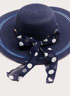 Chapeau capeline tressé avec ruban à pois, Bleu, hi-res