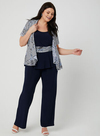3-Piece Pantsuit, Blue, hi-res,  jersey, pull-on pants, striped, textured, open front, spring 2019