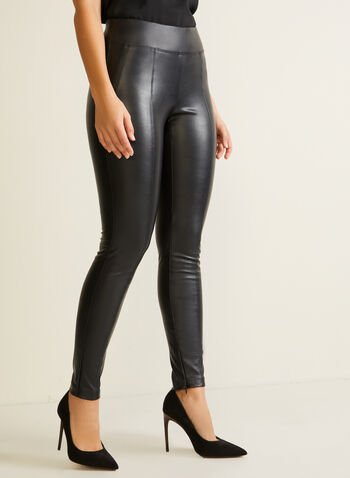 Vegan Leather Leggings, Black,  legging, vegan leather, faux leather, pull-on, zipper, fall winter 2020
