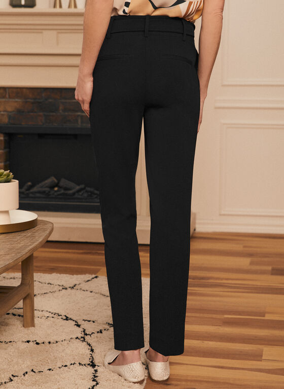 Belted Slim Leg Pants, Black