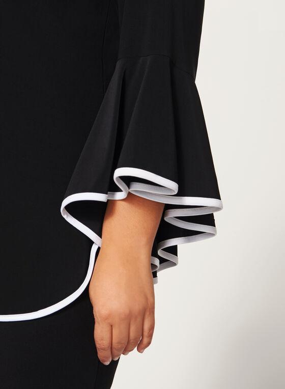 Frank Lyman - Ruffled Bell Sleeve Tunic Top, Black, hi-res