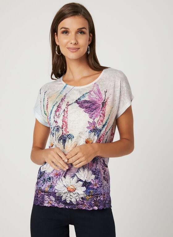 T-shirt floral avec cristaux et dentelle, Violet, hi-res