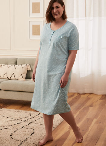 Star Print Nightgown, Blue,  pyjamas, sleepwear, nightgown, star print, comfy, soft, spring summer 2021