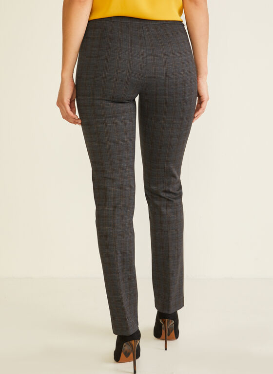 Pantalon pull-on motif tartan, Gris