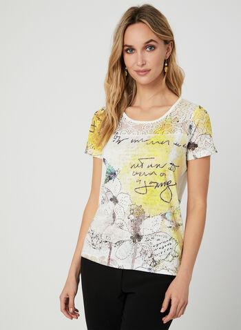 T-shirt à détail crochet et imprimés variés, Jaune, hi-res,  manches courtes, papillons, cristaux, fleurs, floral, motif, motifs, calligraphie, transparence, automne hiver 2019