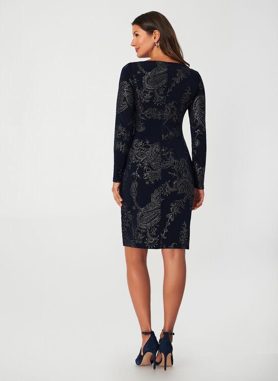 Metallic Print Dress, Blue