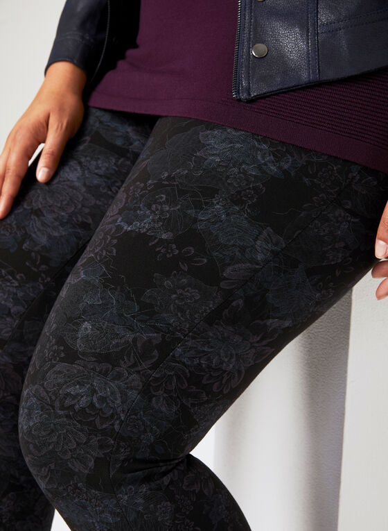 Pantalon pull-on coupe moderne à fleurs, Bleu, hi-res