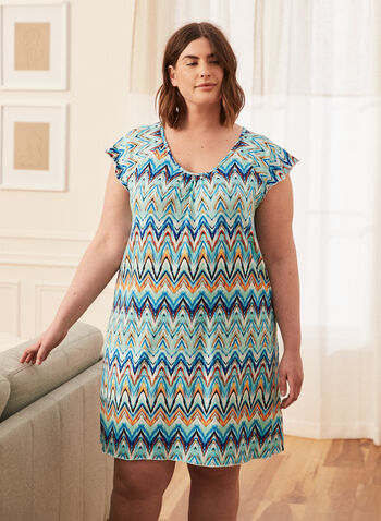 Abstract Print Nightgown, Blue,  spring summer 2021, scoop neck, pyjamas, pajamas, sleepwear, night dress, night gown, abstract print, multi media print, geometric print, made in Canada,