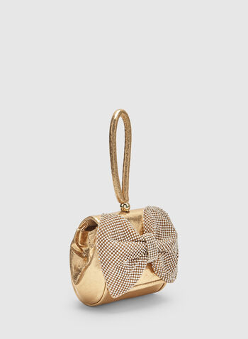 Bow Box Clutch, Gold, hi-res,
