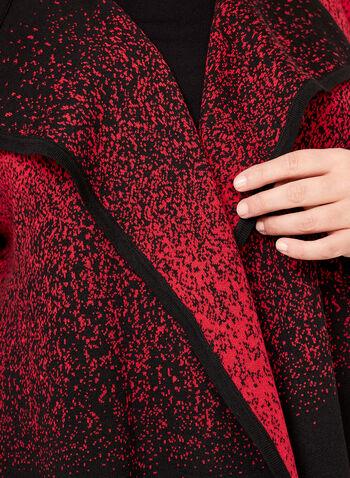 Cardigan en tricot moucheté ouvert en cascade, Noir, hi-res