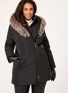 Northside - Faux Leather Detail Coat, Black, hi-res