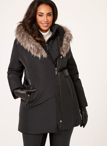 Faux Leather Detail Coat, , hi-res