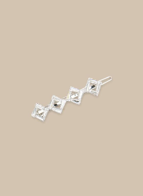 Geometric Crystal Hair Clip, Silver