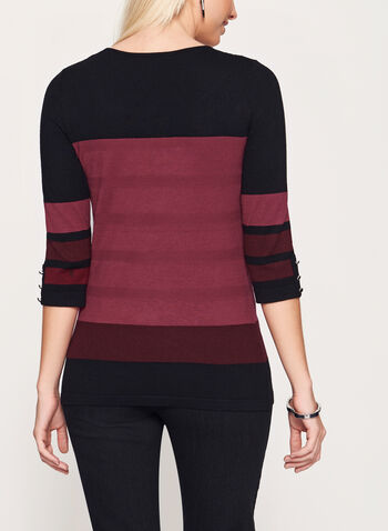 Colour Block Button Trim Sweater, , hi-res
