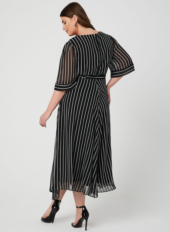 Robe rayée style enveloppe, Noir, hi-res