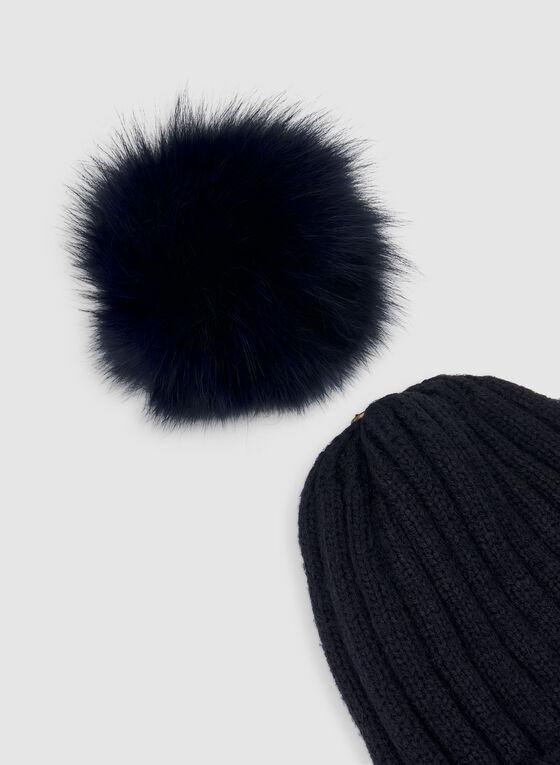 Fur Pompom Knit Tuque , Blue