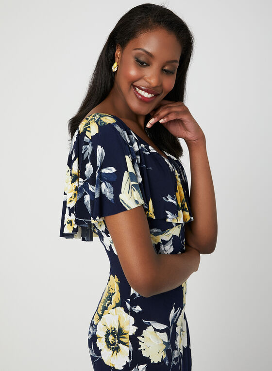 Floral Print Midi Dress, Blue, hi-res