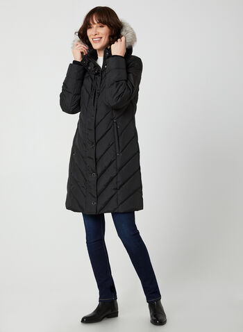 Chevron Quilt Down Coat, Black,  coat, fake fur, fake fur coat, down coat, winter coat, hooded coat, fall 2019, winter 2019
