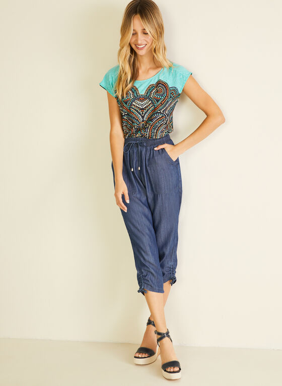 Tencel Cargo Capri Pants, Blue