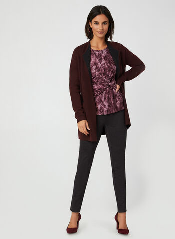Printed ¾ Sleeve Top, Purple, hi-res,  Canada, 3/4 sleeves, abstract, side knot, fall 2019, winter 2019