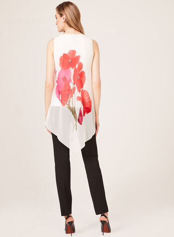 Sleeveless Asymmetric Floral Print Blouse, White, hi-res