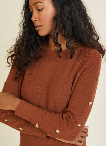 Button Detail Knit Sweater, Brown,  sweater, long sleeves, knit, buttons, boat neck, fall winter 2020