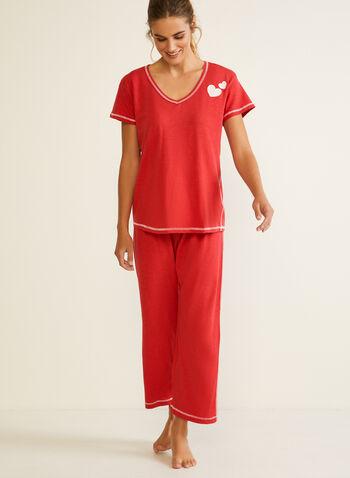 Pyjama à coutures contrastantes, Rouge,  automne hiver 2020, pyjama, ensemble