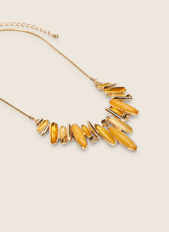 Oval Stone Necklace, Yellow,  necklace, resin, stones, metallic, faceted, crystals, snake chain, spring summer 2020