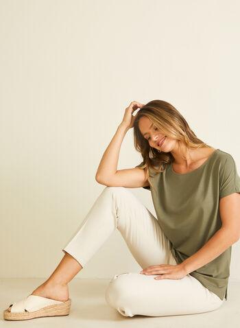 T-shirt en coton et modal, Vert,  t-shirt, manches courtes, coton, modal, printemps été 2020