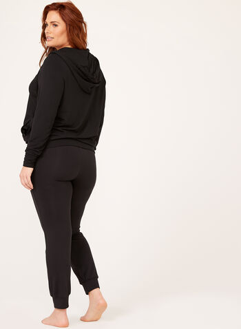 Long Sleeve Hooded Sweater, Black, hi-res
