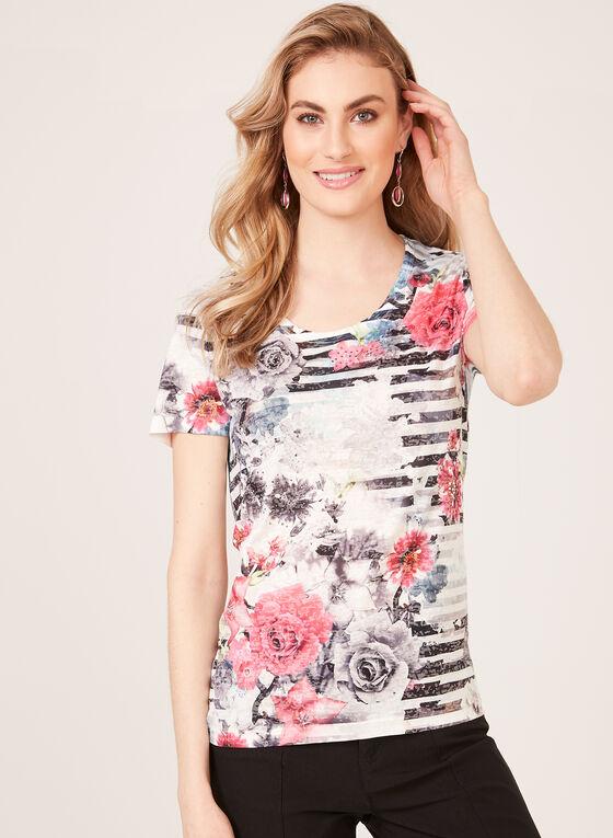 T-shirt motif fleurs et rayures à manches courtes , Orange, hi-res
