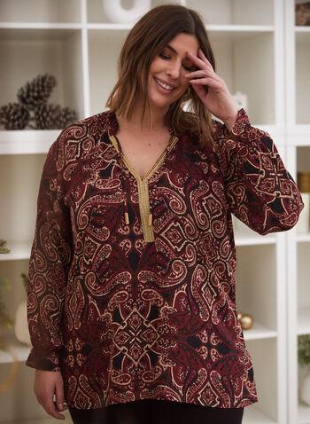 Paisley Print Tunic, Black,  top, tunic, tunisian, paisley, long sleeves, drawstring, fall winter 2020