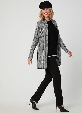 Pantalon coupe cité à jambe droite, Noir, hi-res,  pantalon, cité, jambe droite, pinces, automne hiver 2019