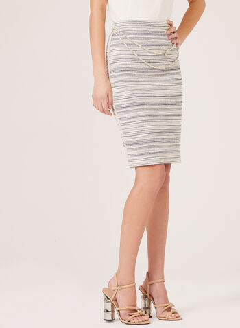 Vex - Stripe Knit Belted Pencil Skirt, Blue, hi-res