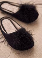 Feather Pom Pom Slippers, Black