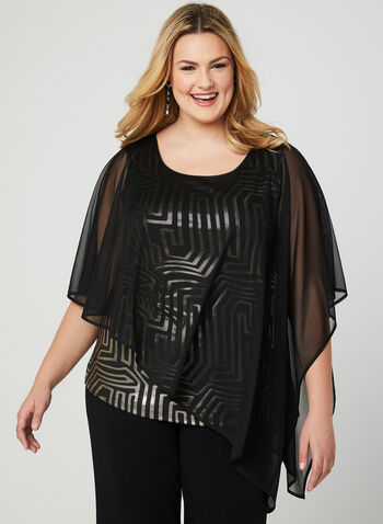 Mesh Poncho Blouse, Black, hi-res