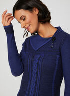 Asymmetric Neck Sweater, Blue, hi-res