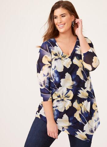 Asymmetric Floral Popover Blouse, Blue, hi-res