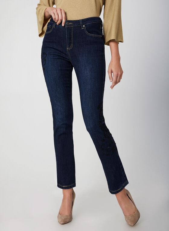Simon Chang - Jeans coupe signature à détails brodés, Bleu