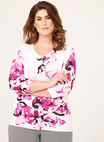Cardigan fleuri avec tricot texturé, Blanc, hi-res