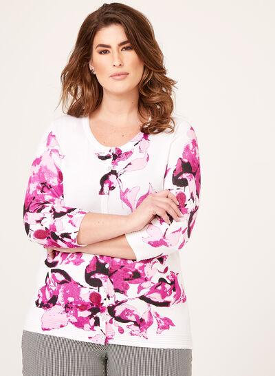 Cardigan fleuri avec tricot texturé