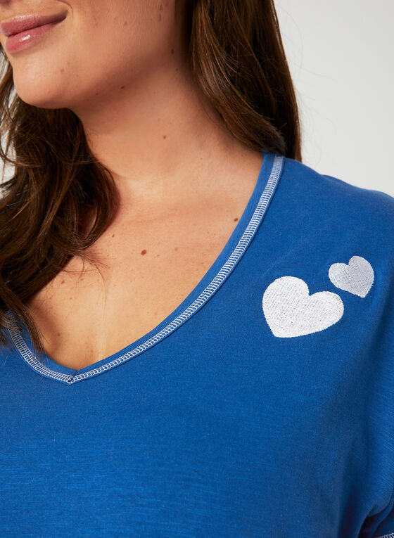 Bellina - Contrast Stitch Pajama Set, Blue, hi-res