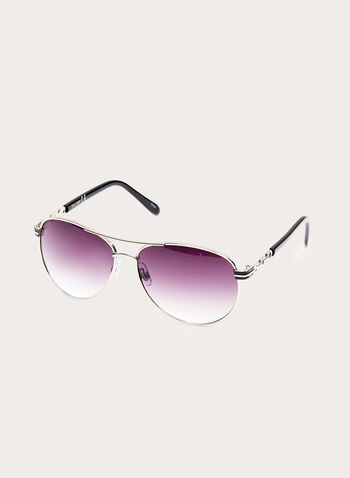 Chain-Link Aviator Sunglasses , Silver, hi-res