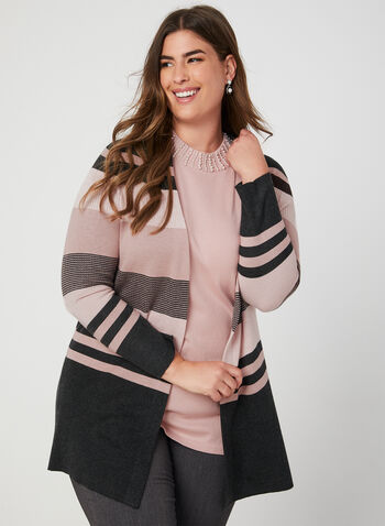 Stripe Print Open Front Cardigan, Grey, hi-res,  cardigan, knit, open front, long sleeves, stripe print, fall 2019, winter 2019