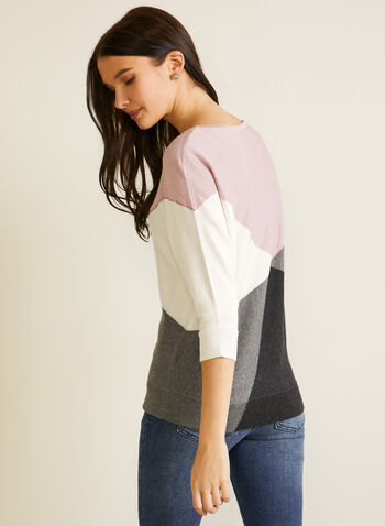 Colour Block Dolman Sleeve Sweater, Purple,  fall winter 2020, sweater, knit, 3/4 sleeves, dolman sleeves, color blocks, crystals, rhinestones, holiday